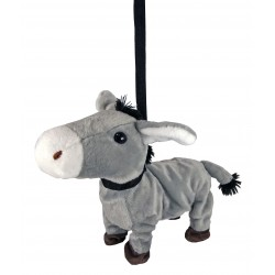Plush donkey walking and dancing in music
