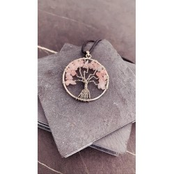 Collier Arbre de vie QUARTZ ROSE